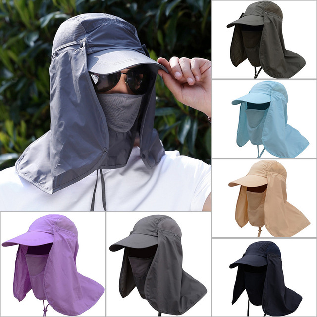 d92e0adeffa Outdoor Sport Hiking Camping Visor Hat UV Protection Face Neck Cover Fishing  Sun Protcet Cap