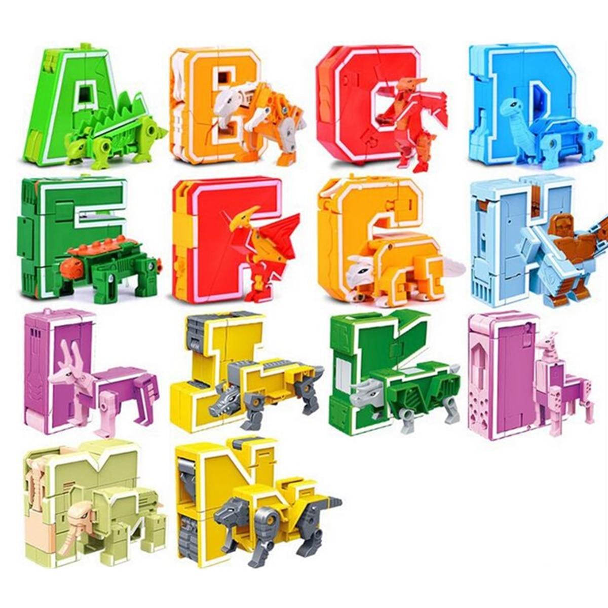 26 pièces lettre anglaise Robot déformation Alphabet Transformations Puzzle dinosaure Robot bricolage blocs de construction enfants jouets éducatifs - 3