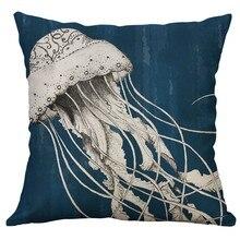 Funda de almohada de lino con forma de pulpo y Tortuga de mar, cojín con forma de pulpo, 60x60cm