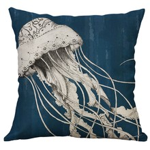 Marine Life Coral Sea Turtle Seahorse Whale Octopus Cushion Cover Pillow Covers Linen Throw Pillow Home Decoration 60x60cm
