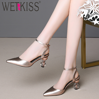 WETKISS Ankle Strap Sandals Women Crystal Heels High Sandals Cow Leather Summer Shoes 2019 Female Strange Style Wedding Shoes