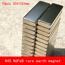 10PCS 30*10*4mm N45 Strong permanent NdFeB rare earth magnet plating Nickel 30X10X4MM