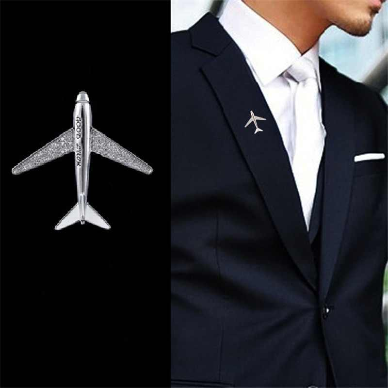 High quality Sparkling Zircon Airplane Aircraft Man Pins Brooches Man Party Brooch Jewelry Men Suit Brooch Pin Gifts New 2019