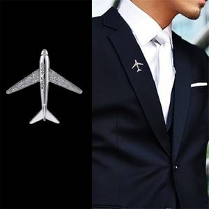 Suit Brooch Pin Airplane Aircraft Sparkling-Zircon Gifts High-Quality Jewelry Men New