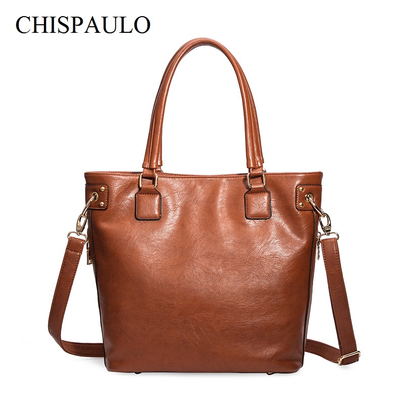 CHISPAULO 2017 Women Genuine Leather Handbags Vintage Women Messenger Bags Bolsa Femininas Oil Wax Leather Handbag Fashion X66 chispaulo 2017 women genuine leather handbags cowhide women s messenger shoulder bags crossbody bolsa femininas tassel new c137