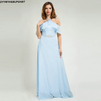 Halter Bridesmaid Dresses with Ruffles Off Shoulder Cross Back Sky Blue Chiffon Bridesmaid Gowns фото