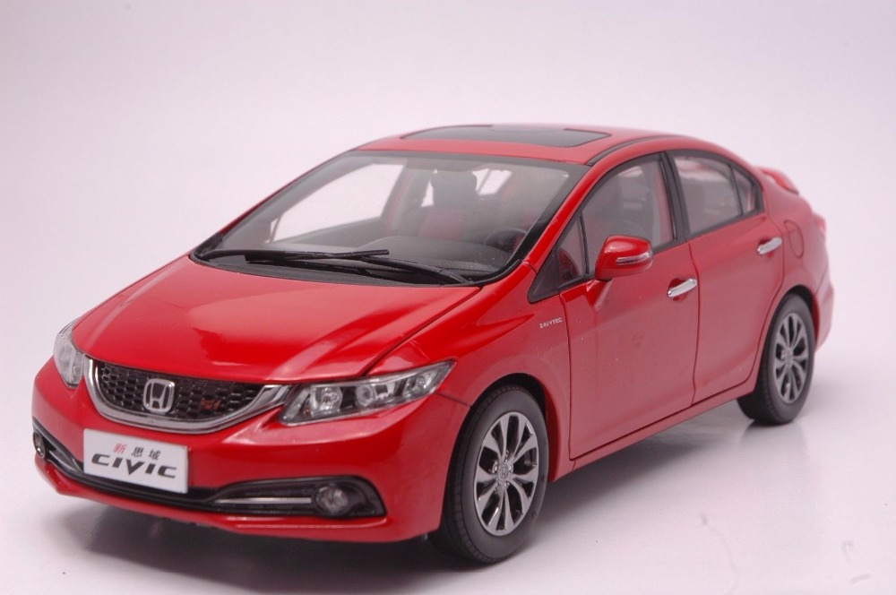1:18 Diecast Model for Honda Civic 9 2014 Red Alloy Toy Car Miniature Collection Gifts MK9 1 43 diecast model for honda civic 2016 mk10 white alloy toy car miniature collection gifts