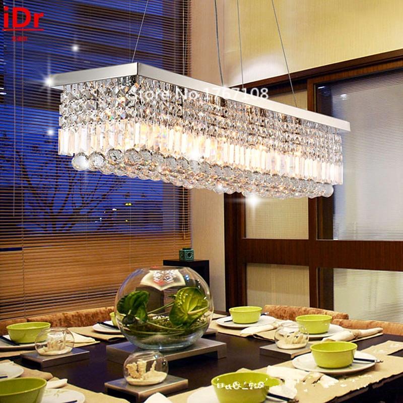 La lámpara de cristal de araña de alta calidad del restaurante moderno europeo llevó una gran sala de estar rectangular con iluminación de cristal
