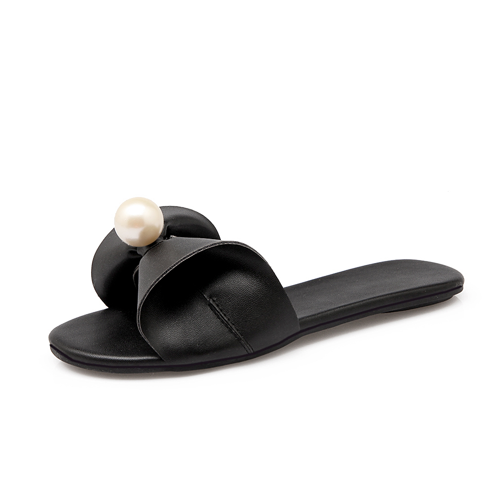 2017 High Quality Pearl Women Home Slippers Sexy Summer Flat Sandals Slip-on Soft Sweet Shoes Female Flat Shoes X1365 35 free shipping hole shoes 2014 flat sandals female slippers the chameleonlike slip resistant jelly shoes sandals