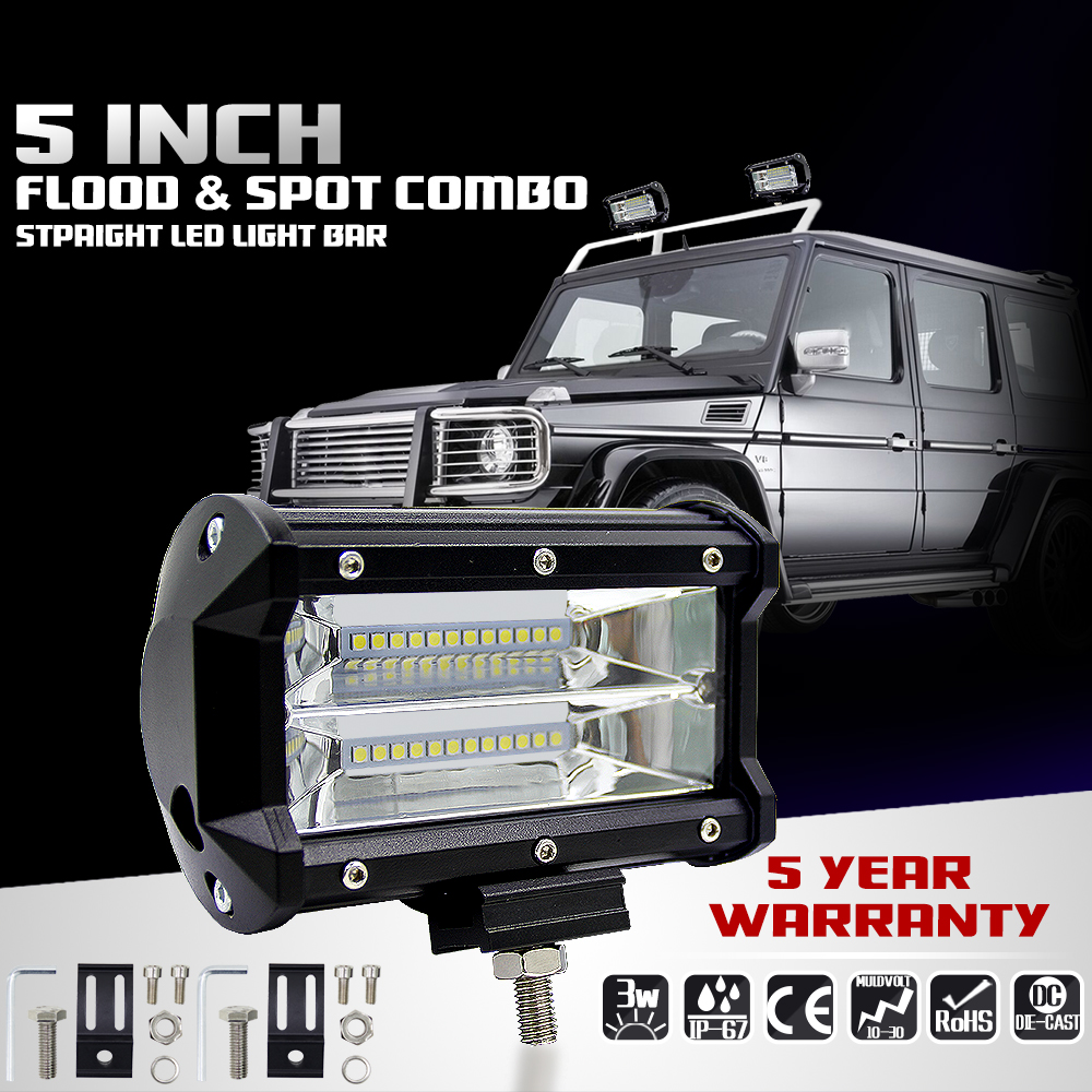 Led Work Light 12V Offroad Tractor Work Light Bar 72W 6000K with CREE LED Chip 5 inch Car LED Lamp Bulb for bmw e46 Car Sytling waterproof 72w 4300lm 6000k 24 led white light car work project diy light bar dc 10 30v