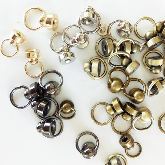 40Pcs Diy Leather Craft Metalware Purse Buttons Phone Case Chain Pull Ring Buckle Reverse Nipple