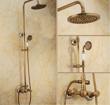 Newly Dual Carved Pattern Handles Vintage Shower Set Faucet Rain Shower Head W Ceramics Handheld Shower