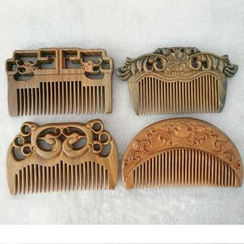 1 PC Handmade green sandalwood Anti-alopecia wood comb Natural Head Massage hair brush hair care flower style free shipping