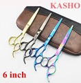 6 Inch KASHO Rainbow Hair Scissors Professional Barber Hairdressing And Beauty Hair Cutting Scissors Thinning Shears  VH030