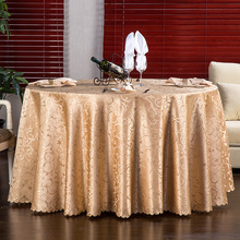 P Jacquard Round Tablecloth Gold Thread Table Cloth  Mantel Mesa Banquet Wedding Poly Dining Cover