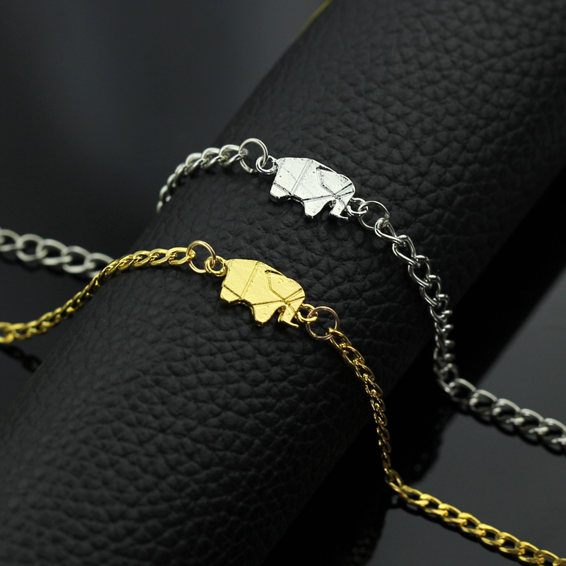 d5a8f6e6a6e6e9 2017 Gold Color Charms Bracelet Femme Stainless Steel Women Dainty Jewelry  Lucky Origami Elephant Bracelets Friendship Gifts BFF-in Bangles from  Jewelry ...
