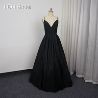 Vestidos Homecoming A linha de Spaghetti Strap Preto Criss cross-Back Custom Made Prom Party Vestido