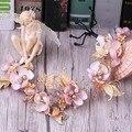 Розовая Бабочка Цветок Золотой невесты невесты свадебный головной убор головной убор с сладкий аксессуары для волос