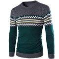 Hombres suéter 2017 Suéteres de la Marca Suéter Ocasional Masculina O-cuello Rejilla Costura Slim Fit Knitting Suéteres Para Hombre Hombre Suéter de Los Hombres