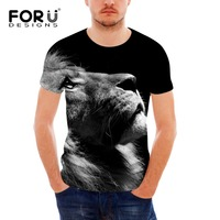 FORUDESIGNS Wholesale Novelty Lion Protect The Animals 3D Short Sleeved Handsome Shirt For Female Bodybuilding Clothes Plus Size