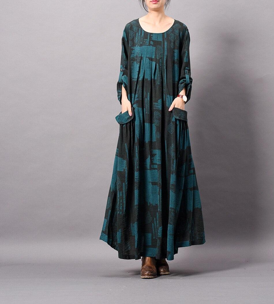 De Rétro Tencel 2019 Imprimé Blueblack Robe Femmes Lâche Linge Dames Féminine Occasionnel La Taille Wrinke Imprimer orangebrown Plus AXYn6wq