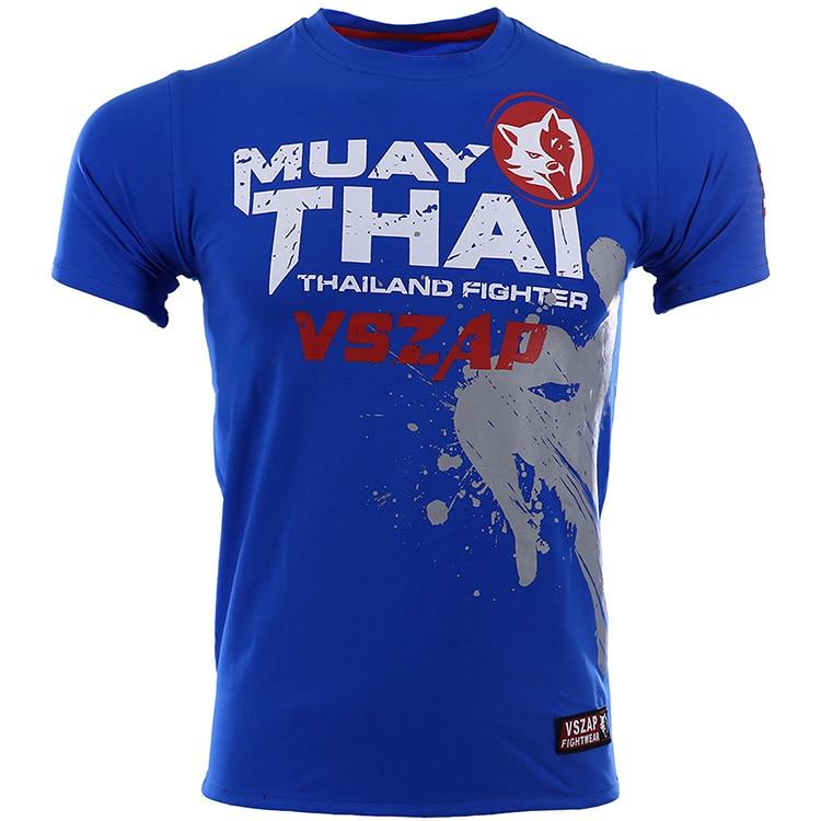 VSZAP T-shirt Men Mma Muay Thai Sports Aerobics Running Boxing Clothing Boxing Gym T Shirt Cotton MMA Suits Tee Shirt