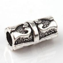 100Pcs Tibetan Silver Zinc Alloy Tube Carved Heart Spacer Beads Fit European Bracelet 7x14mm ZH790