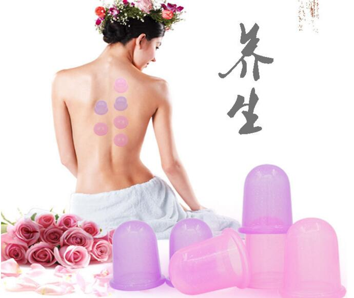 5.5CM Silicone vacuum massage cupping elastic cupping jar for neck body physical therapy vacuum facial massage cupping cup