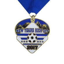 Customized Hot Sale Football Champions Medals Brass Plating with Ribbon