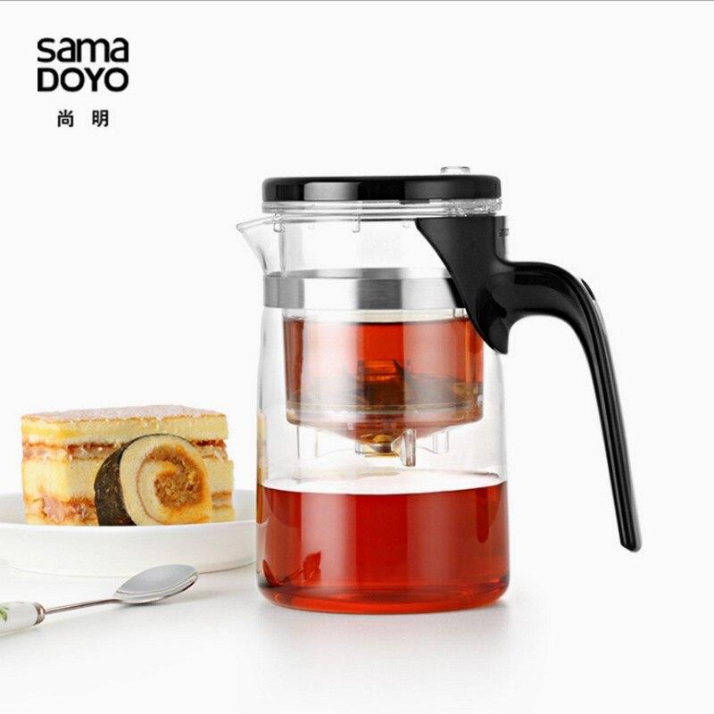 Handmade Split Type Elegant Tea Pot Flower Tea Set Puer kettle Coffee Teapot Convenient Office Tea Cup 500ml Transparent CUP