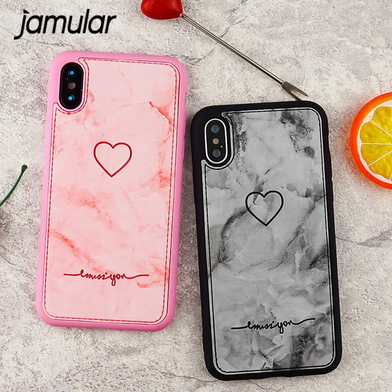 JAMULAR Retro Pu Leather Love Heart Phone Case for iPhone 6 6s 7 X 8 Plus Pink Gray Marble Soft Silicone Back Cover For iPhone 8