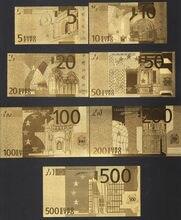 24 k Folha de Ouro de Notas Conjunto Completo 7 PCS Euro Banknote Coleção Decoração Presente Da Lembrança