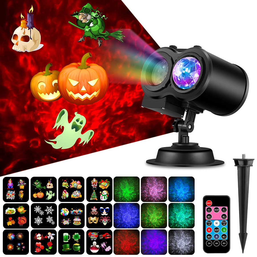 Water Wave Halloween Christmas Projector Light 2-in-1 Moving 12 Patterns LED Double Projector Lamp Waterproof Garden Effect Lamp