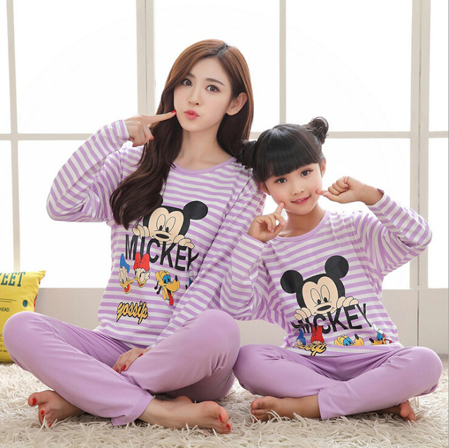 Character Family Pajamas Set  Leisure Wear Clothing Parent-Child Set Mother and Daughter Clothes Mom Daughter Clothing Sets FF33