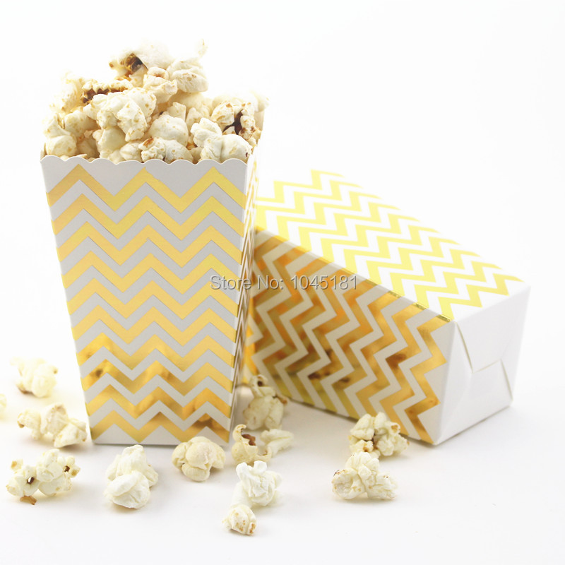 ipalmay shiny goldsilver popcorn boxes chevron striped dot party supplies birthday party wedding favor