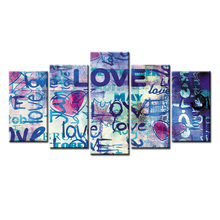 5 panel Frame Graffiti poster canvas wall painting art home decoration living room printing modern painting/Abstract-44