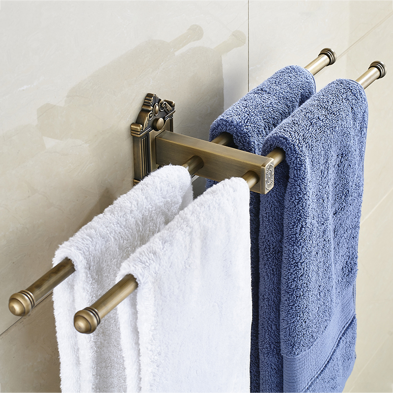 European Towel Bar Antique Towel Rack Gold Black Towel Ring Brass Towel Holder Double Layers Wall Mounted Bathroom Accessories fully copper bathroom towel ring holder silver