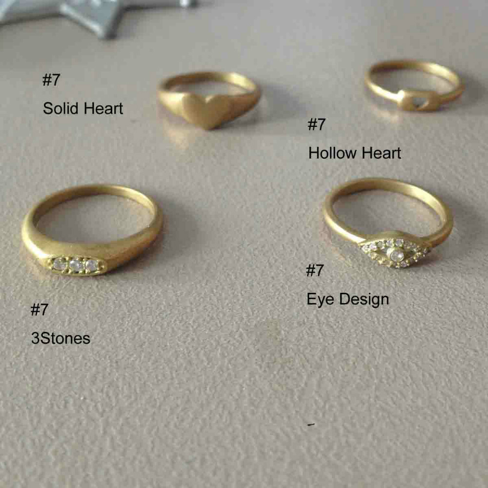 Fashion new styles copper metal shiny gold size fashion finger ring jewelry