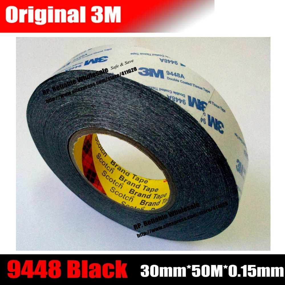 (30mm * 50 meters) for Cellphone LCD Glass Display, Touch Pannel, Screen Housing Logo Sticky 3M Double Side Black Adhesive Tape 50 meters roll 0 2mm thick 2mm 50mm choose super strong adhesive double sided sticky tape for cellphone tablet case screen