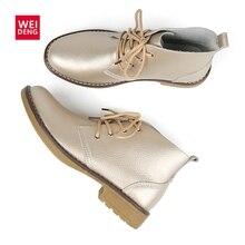 WeiDeng 정품 가죽 발목 부츠 여성 클래식 Matin 패션 플랫 겨울 레이스 높은 상위 캐주얼 방수 신발 여성