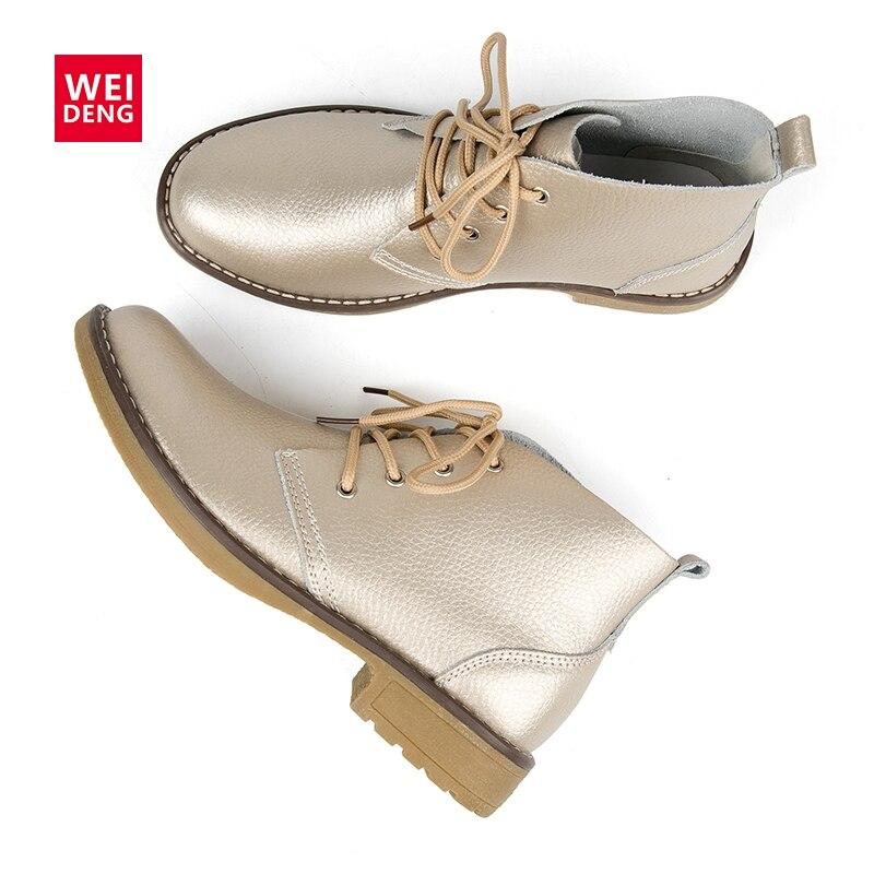 WeiDeng genuino tobillo de cuero botas de mujer clásico Matin pisos de moda de invierno de alta Top zapatos a prueba de agua al aire libre