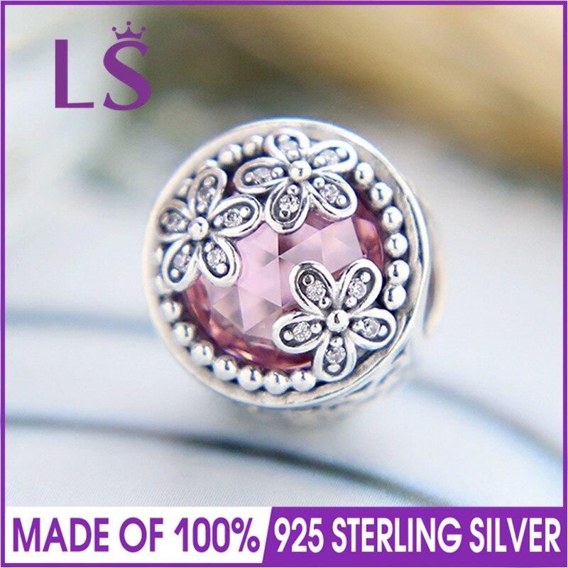 LS High Quality 100%Real 925 Silver Dazzling Daisy Meadow Charm Beads Fit Original Bracelets Pulseira Encantos.100% Fine Jewlery