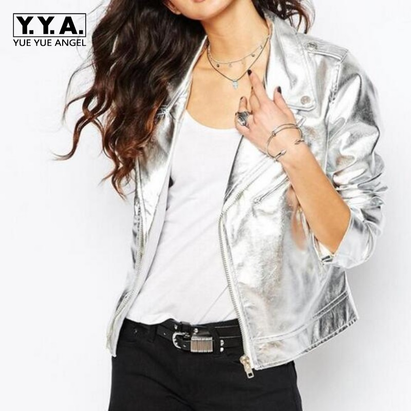 Hot Sale Top Fashion Brand New Womens Silver PU Leather Coats Female Slim Fit Motorcycle Biker Jacket Lapel Zip Short Coat Woman