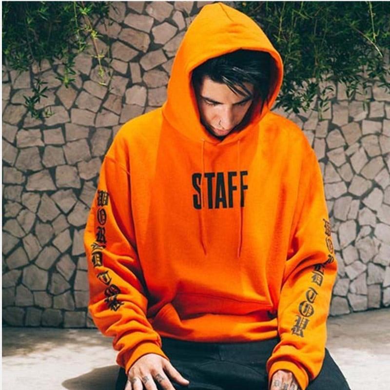 Hooded Hip Hop Men Hoodies Sweatshirt Long Sleeve Oversized Black Orange STAFF Print Male Sweatshirts 2019 High Street Man Hoody