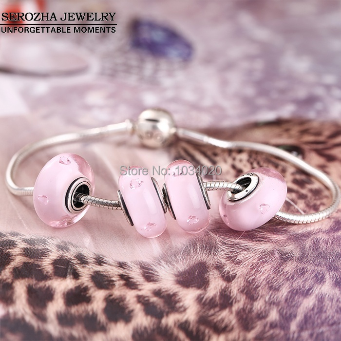 Abstract Silver Charm With Pink Murano Glass Beads Fits Pandora Bracelets Original 925 Sterling Silver Pink Heart Charm Beads