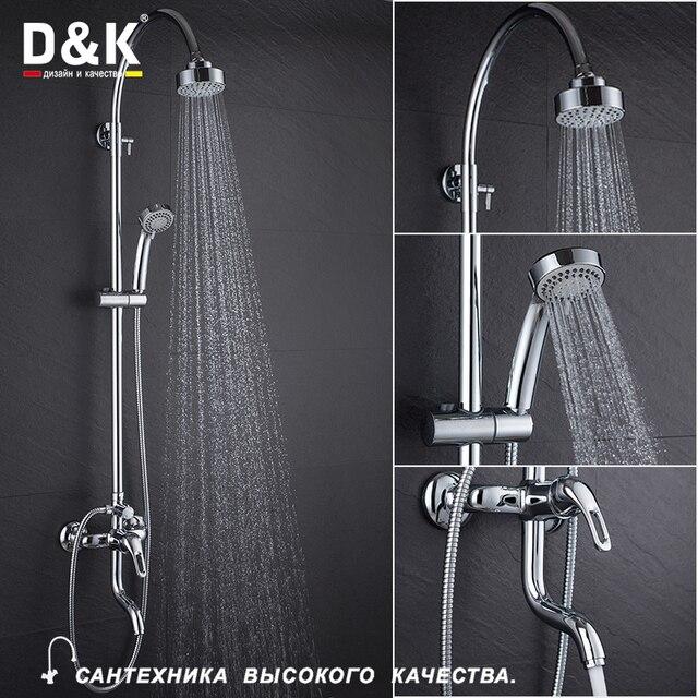 Du0026K Shower Faucets Chrome Brass Single Handle Rain Shower Head Hot And Cold  Water Tap DA1373701C11