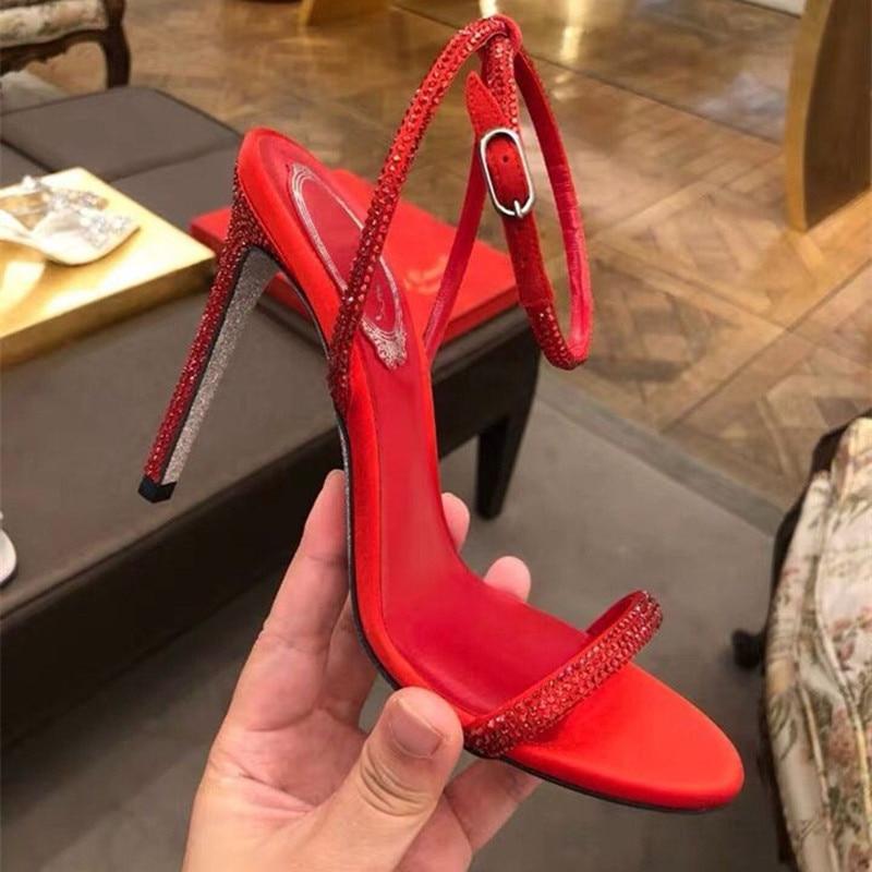À Mujer Show Cristal Hauts Dames Peep Soirée Femmes Sandalia Show Chaussures De Toe Mariage Talons Marque Feminina Sandalias Bling Marée As as Nm8n0w