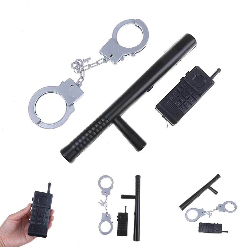 2019 New 3Pcs/set Simulation Pretend Roles Toys Riot Police Cosplay Kids Cop Handcuffs Walkie Talkie Model For Children