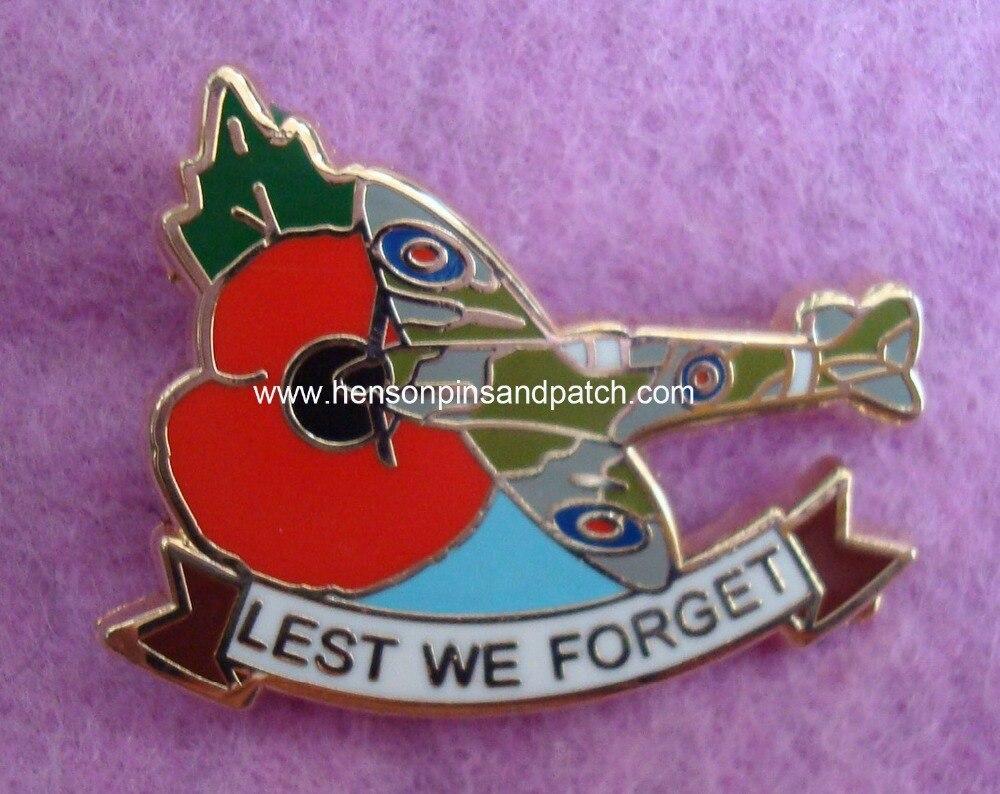 Customized imitation hard enamel gold plane poppy metal badge