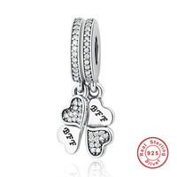 925 Sterling Silver Best Friends Forever Clear CZ Heart Clover Charms Fit Pandora Bracelets Necklace Jewelry
